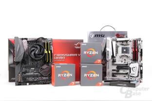 Ryzen 7 im Test: Drei CPUs, Mainboards und schneller DDR4-Speicher