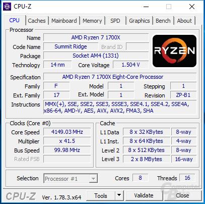 Ryzen 7 1700X bei 4,15 GHz auf allen acht Kernen