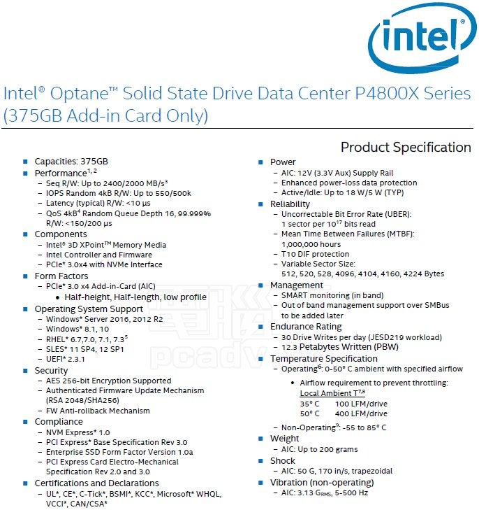 Datenblatt zur Intel Optane DC P4800X