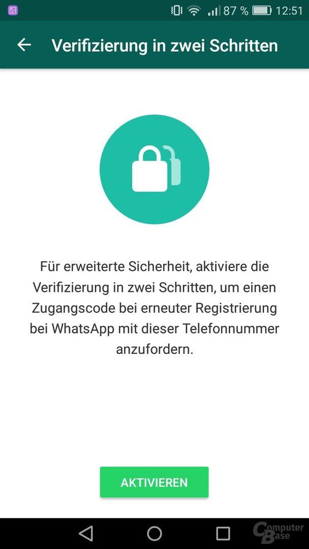 WhatsApp: Verifizierung in zwei Schritten