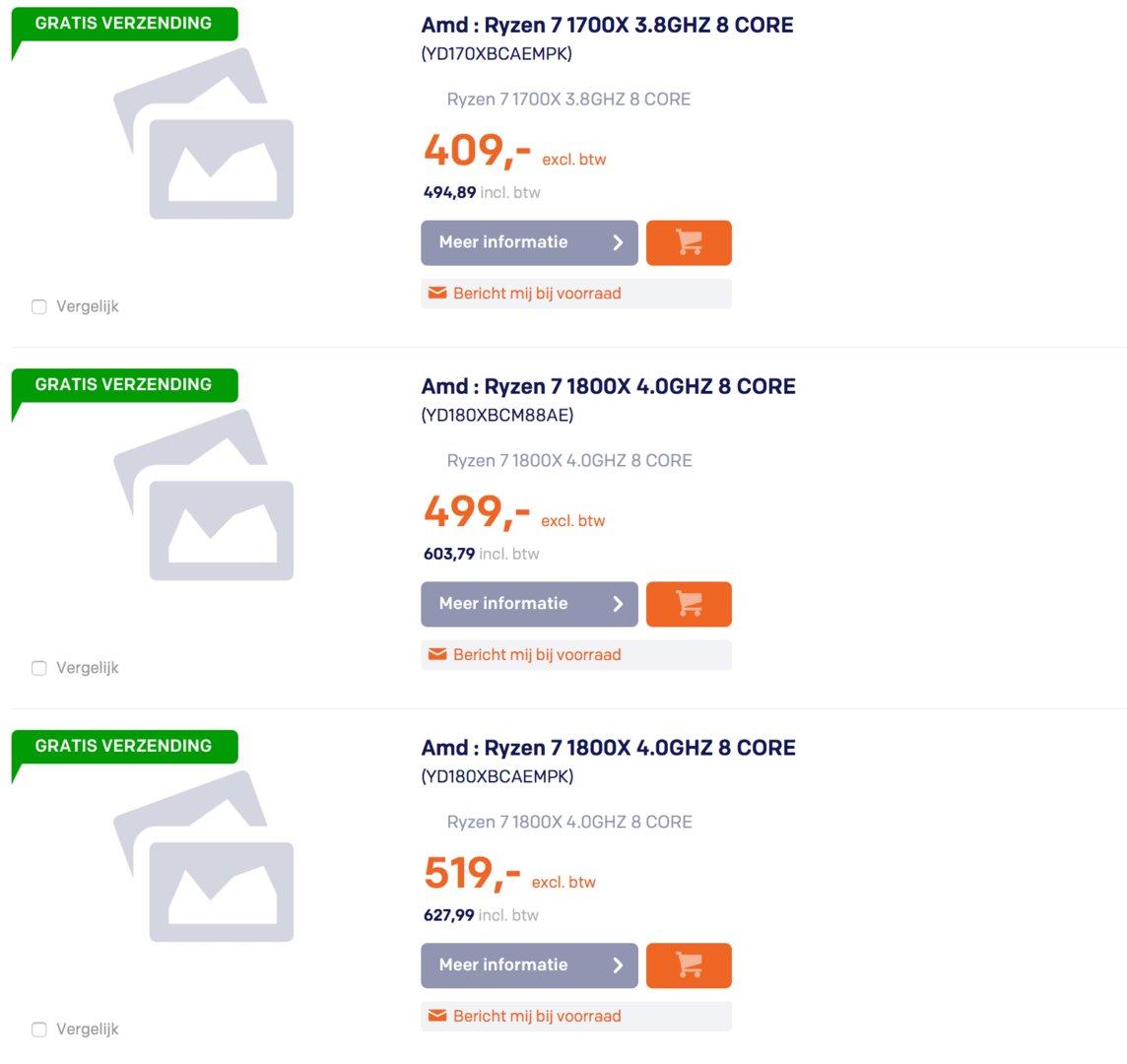 Ryzen 7 bei belgischem Online-Händler