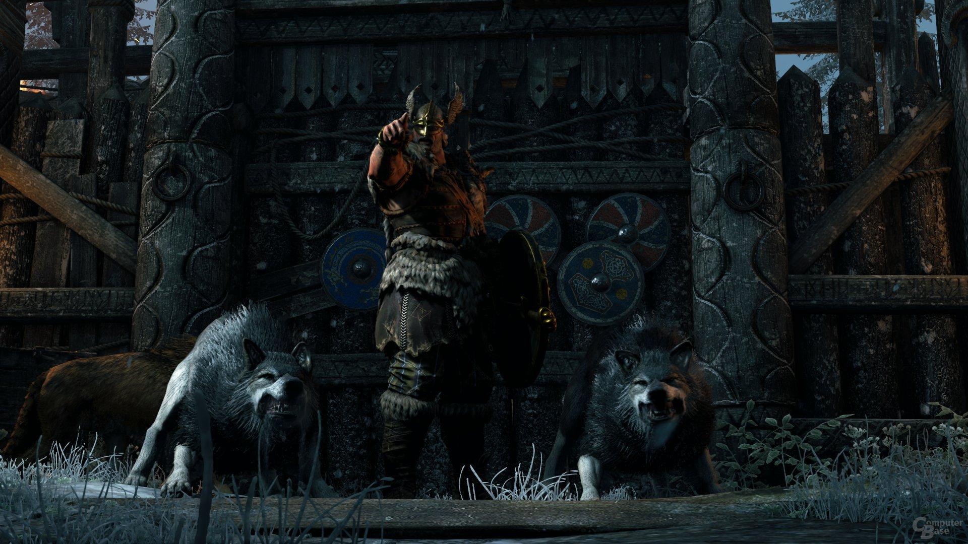 Stolze Wikinger, große Hunde