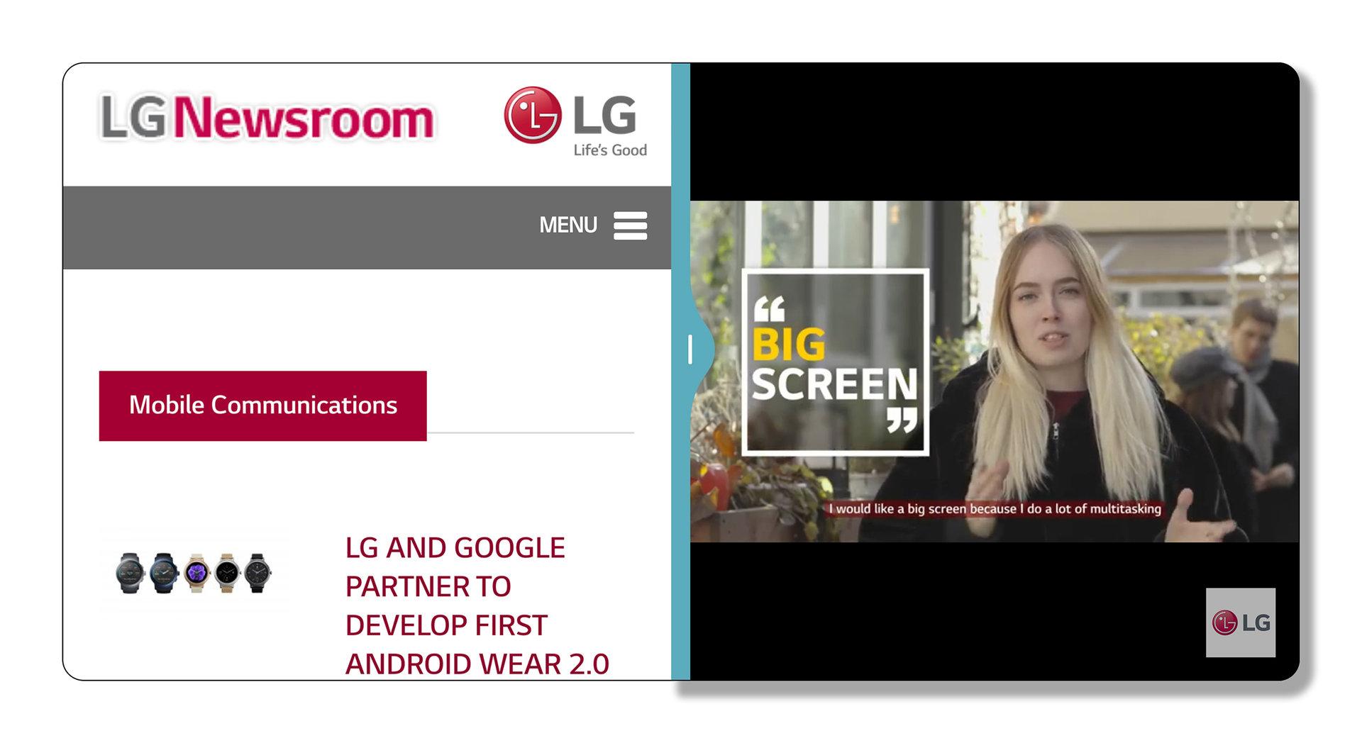 Das LG UX 6.0 des G6 lässt eine Displayaufteilung zu