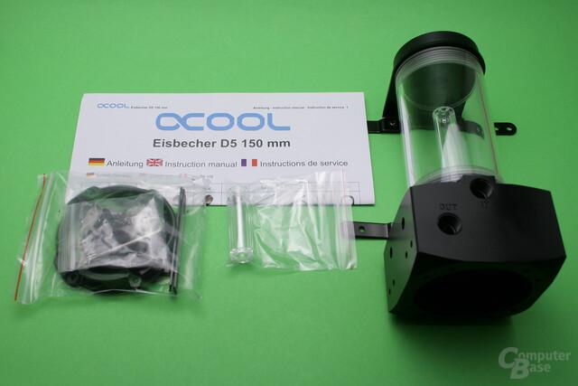 Alphacool Eisbecher D5: Pumpentop mit 150-mm-Röhren-AGB