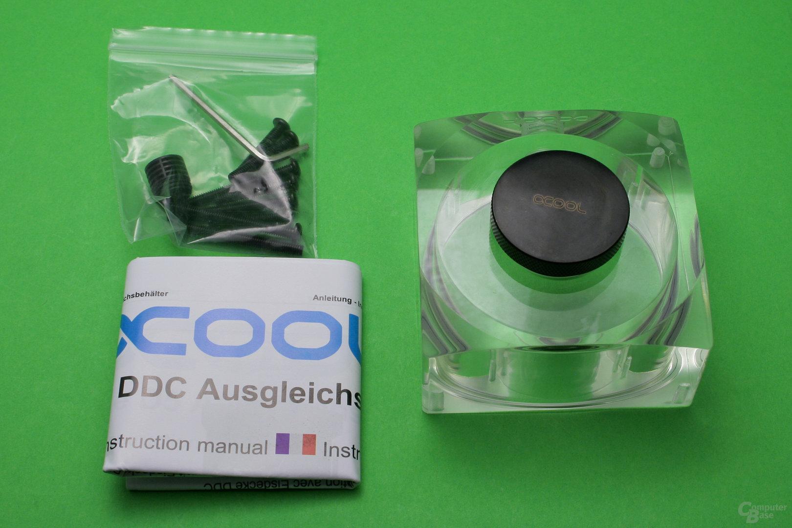 Alphacool Eisdecke Ausgleichsbehälter für DDC/D5: Der kleine AGB kann als Zusatz für die Eisdecke genutzt werden