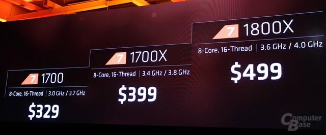 Die Preise für AMD Ryzen 7 1800X, 1700X und 1700