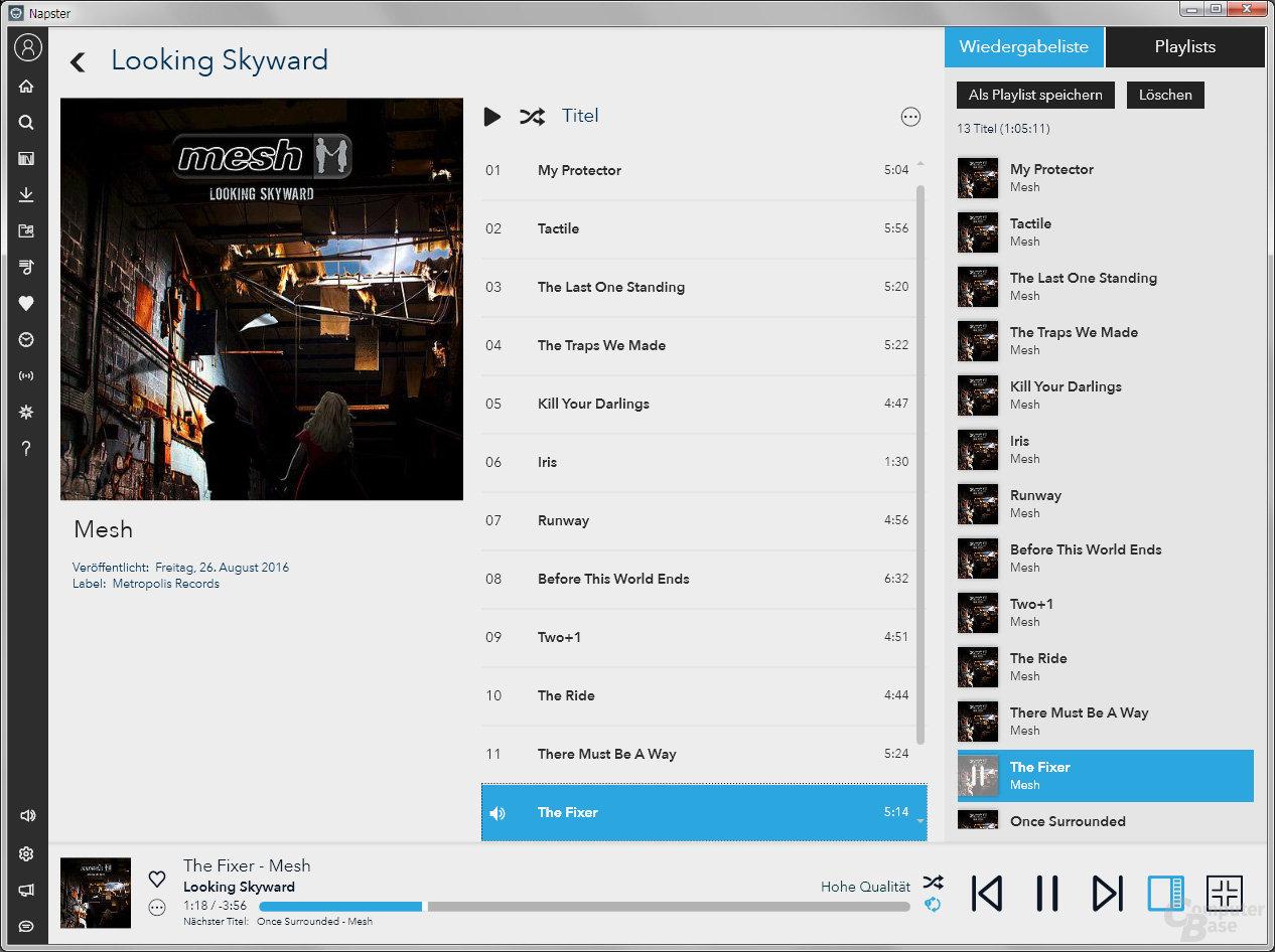 Napster-Desktop-Software: Leicht verbessert
