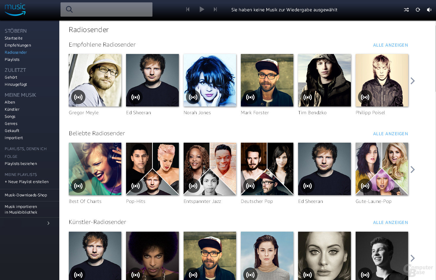 Amazon Music Unlimited im Browser: Übersichtlich, aber langsam
