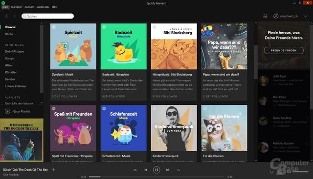 Neu eingerichteter Kinder-Bereich bei Spotify