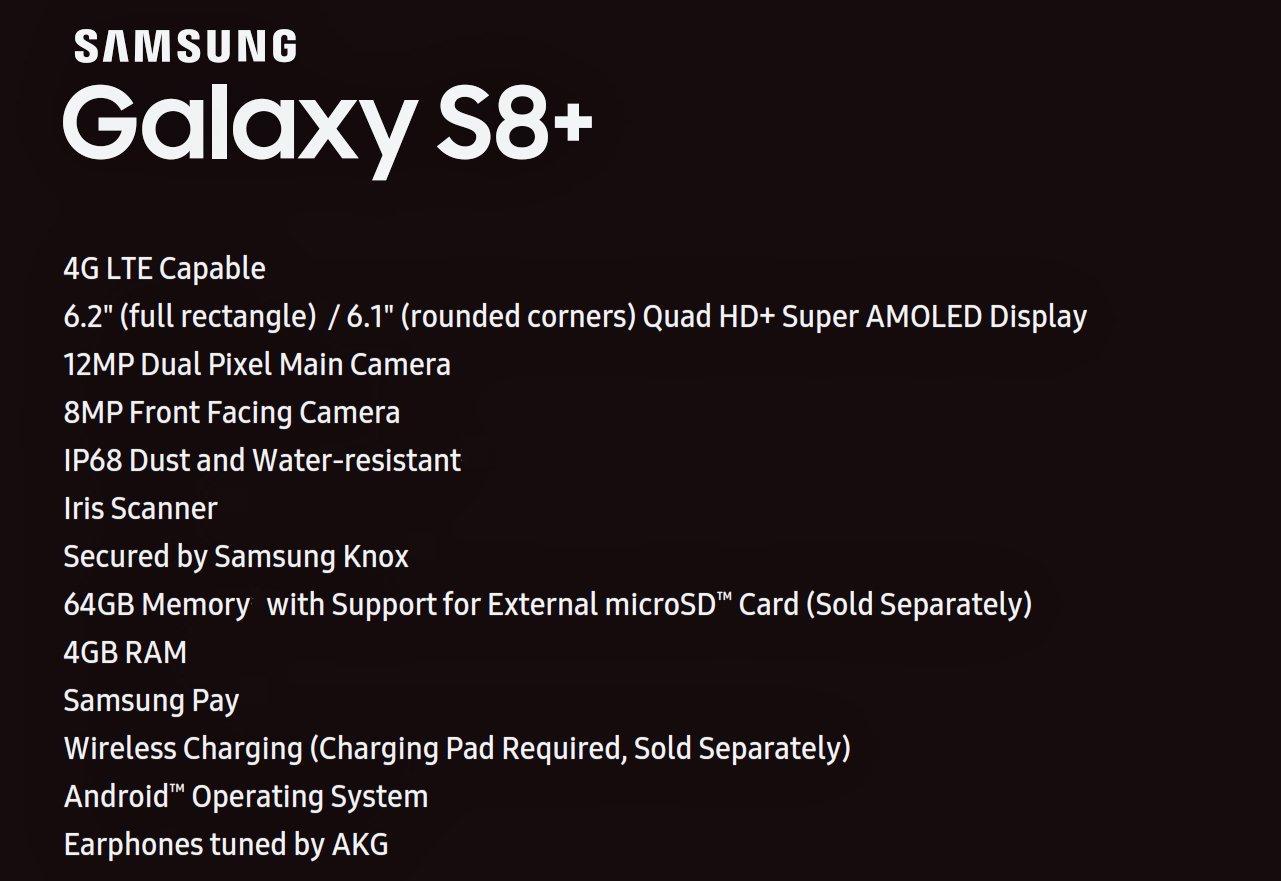 Spezifikationen des Samsung Galaxy S8+