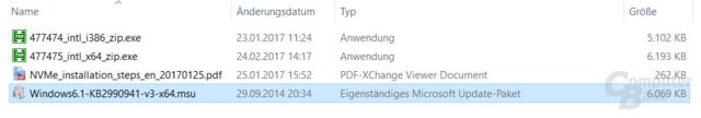 Eigenständiges Windows-Update bringt NVMe-Support unter Windows 7