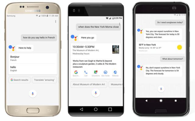 Google Assistant auf dem Samsung Galaxy S7, LG V20 und HTC 10