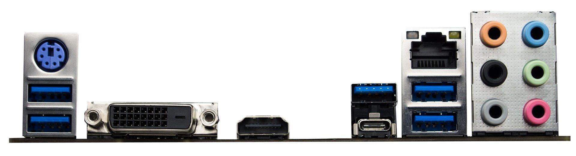 Biostar Racing X370GT5 – das I/O-Panel mit Anschlüssen