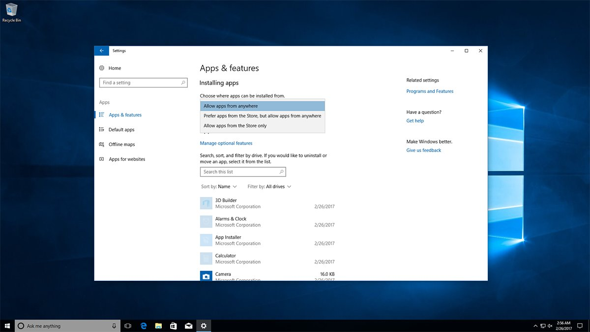 Neues Feature im Windows 10 Build 15042