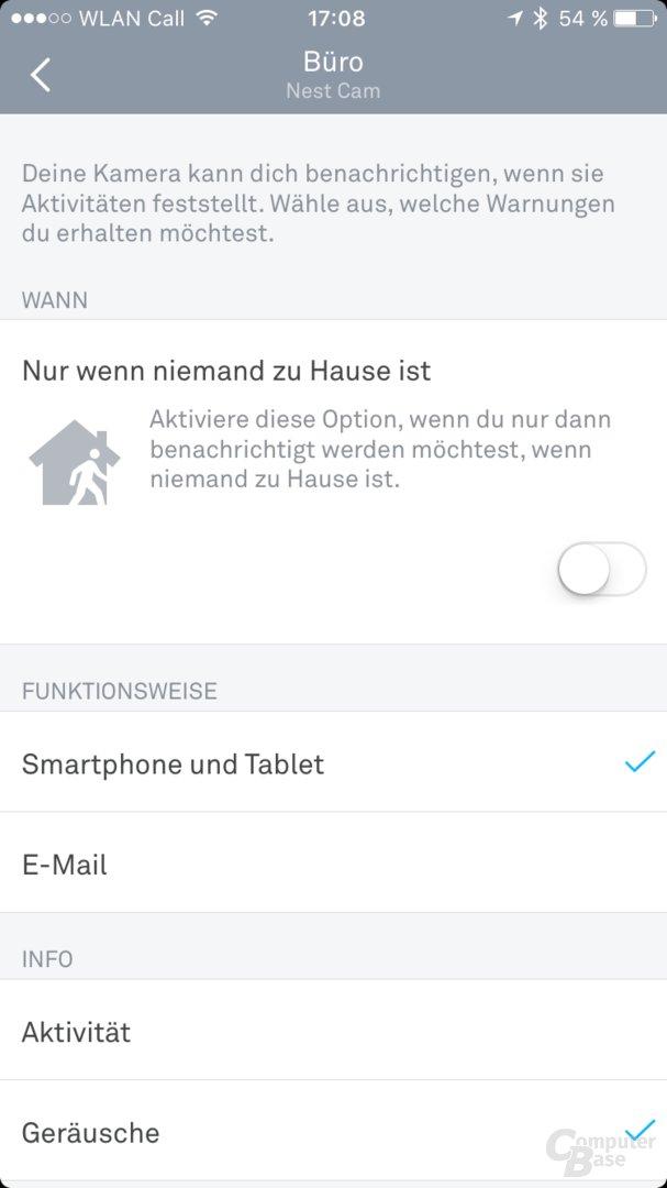 Nest Cam – Einrichtung per App