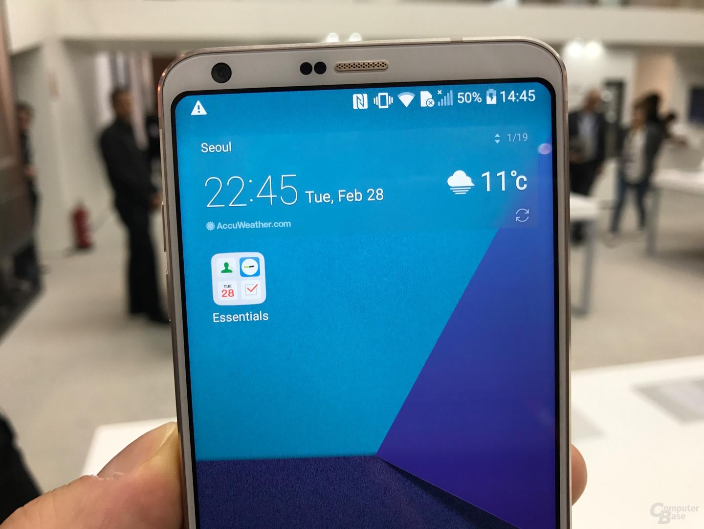 LG G6 in Weiß in der Detailansicht