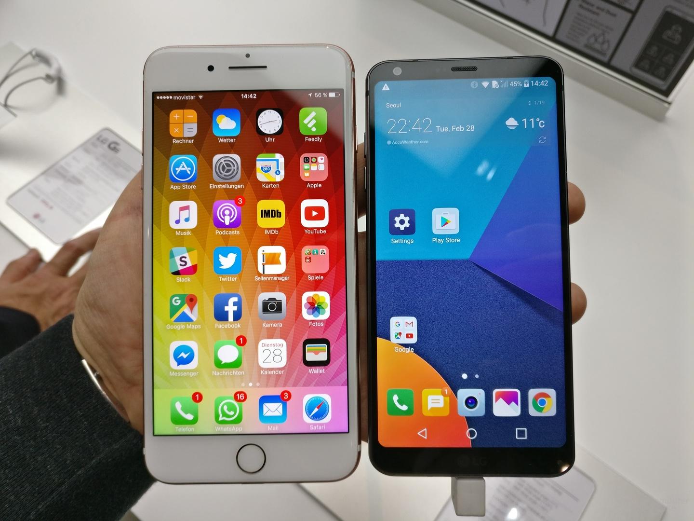 iPhone 7 Plus mit 5,5 Zoll neben LG G6 mit 5,7 Zoll