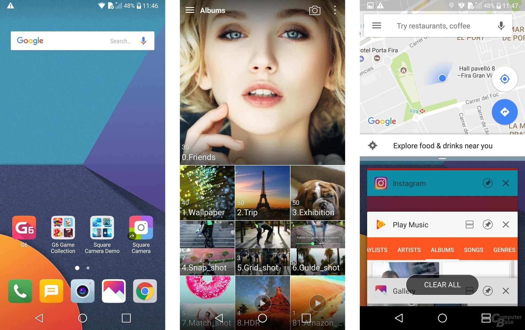 Homescreen und Apps auf dem abgerundeten LG-G6-Display