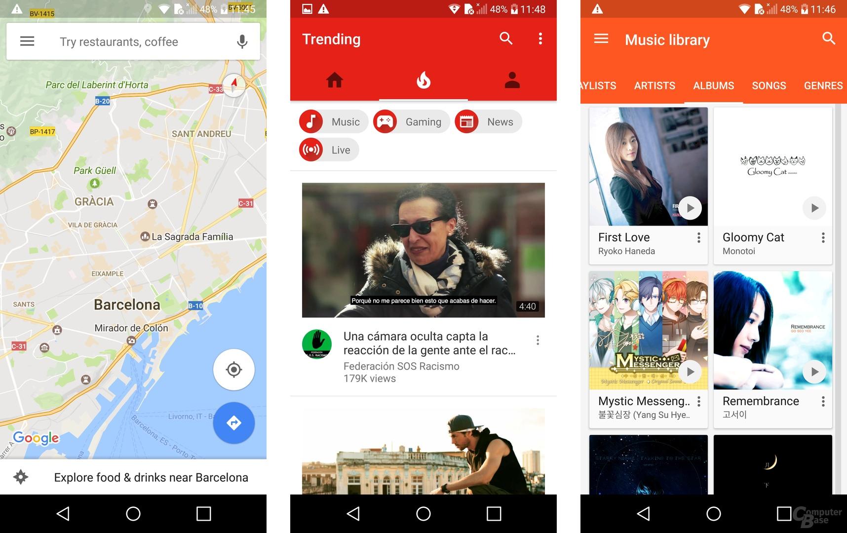Apps auf dem abgerundeten LG-G6-Display