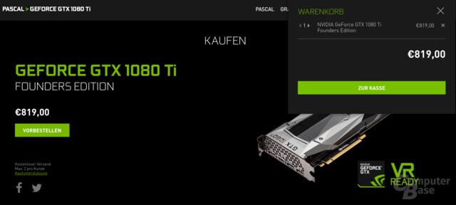 Die GeForce GTX 1080 Ti kann vorbestellt werden