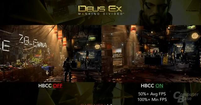 Deus Ex mit HBCC und ohne