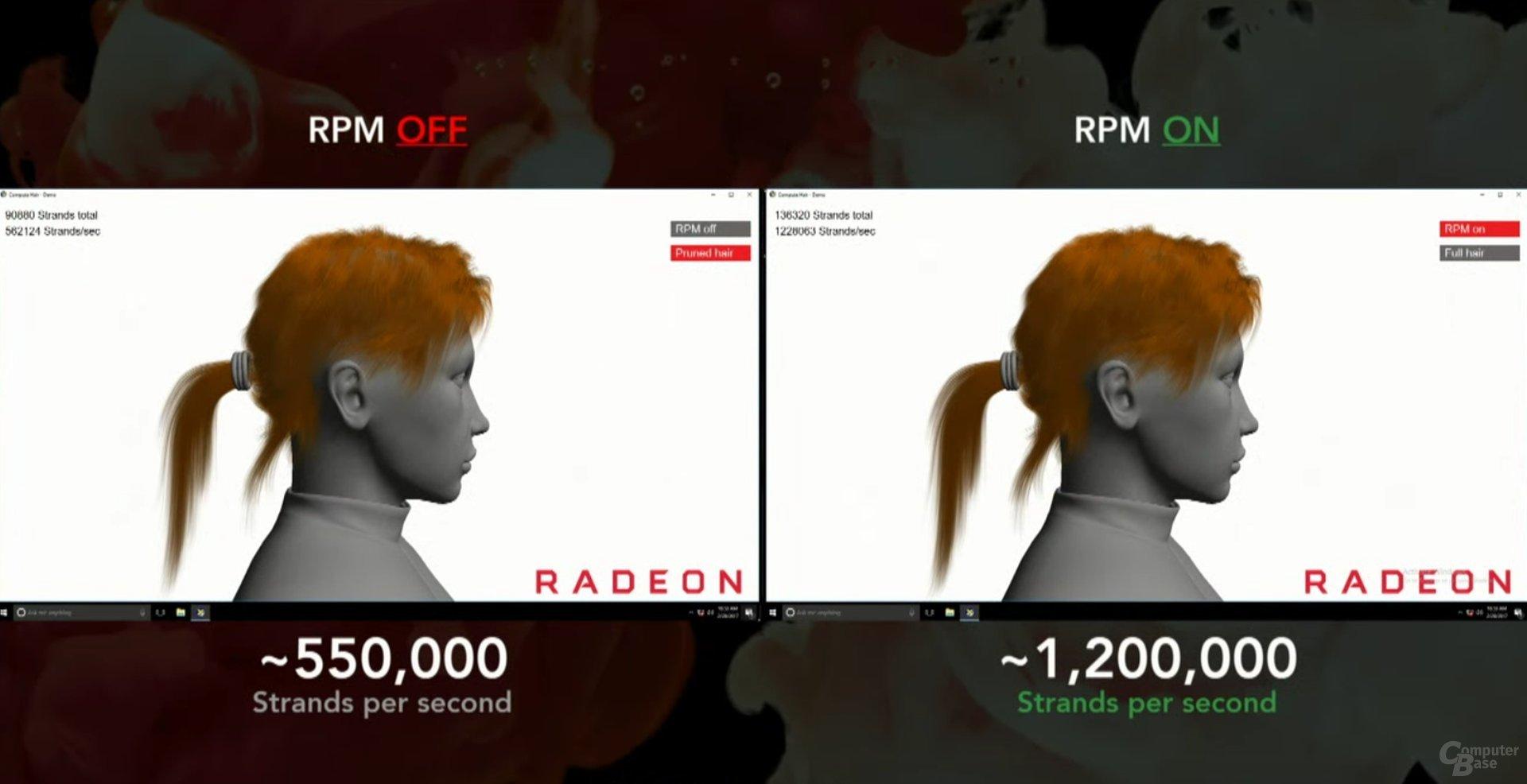 TressFX-Demo mit RPM und ohne