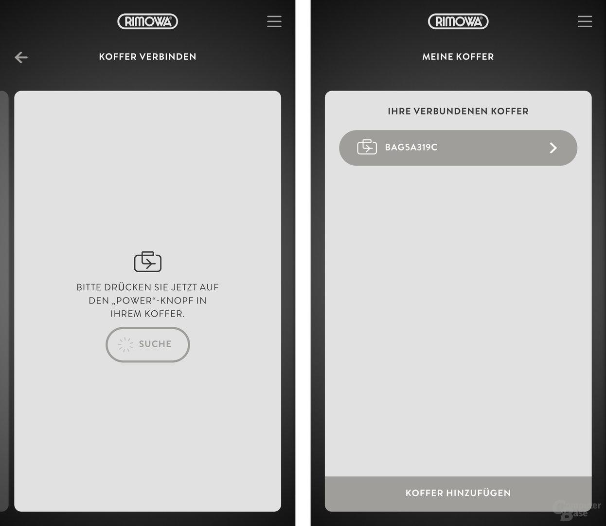 Rimowa-App/Smartphone und Koffer verbinden sich per Bluetooth