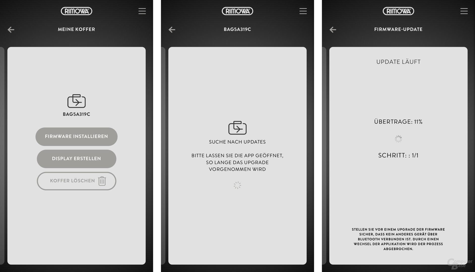 Über die Rimowa-App werden auch Firmware-Updates gesteuert