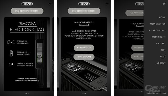 Die Rimowa-App in der Übersicht nach dem ersten Start