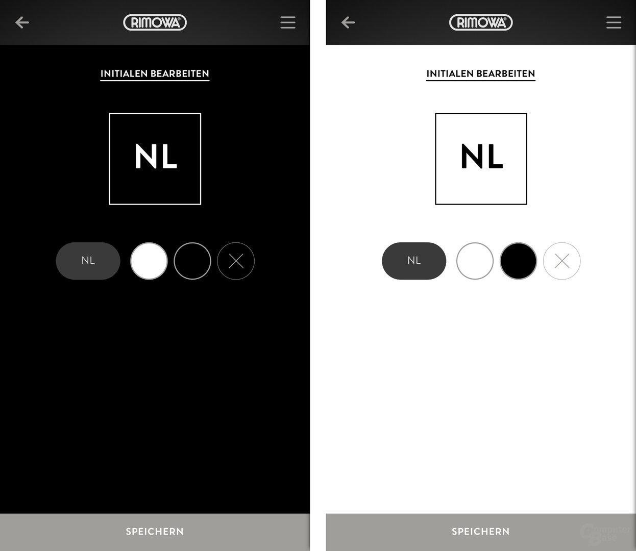 Die Initialen können in Weiß auf Schwarz oder umgekehrt genutzt werden