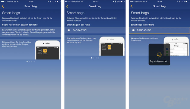 Sobald die Lufthansa-App den Koffer findet, wird das Tag übertragen