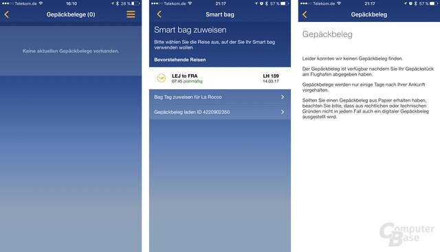 Die App meldet keine Gepäckbelege und findet auch keine nach der Suche