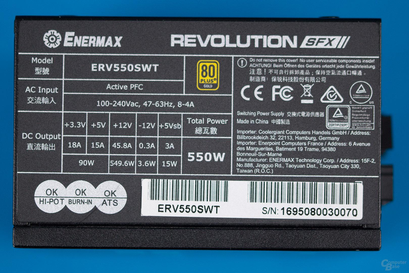 Enermax Revolution SFX 550W – Lastverteilung