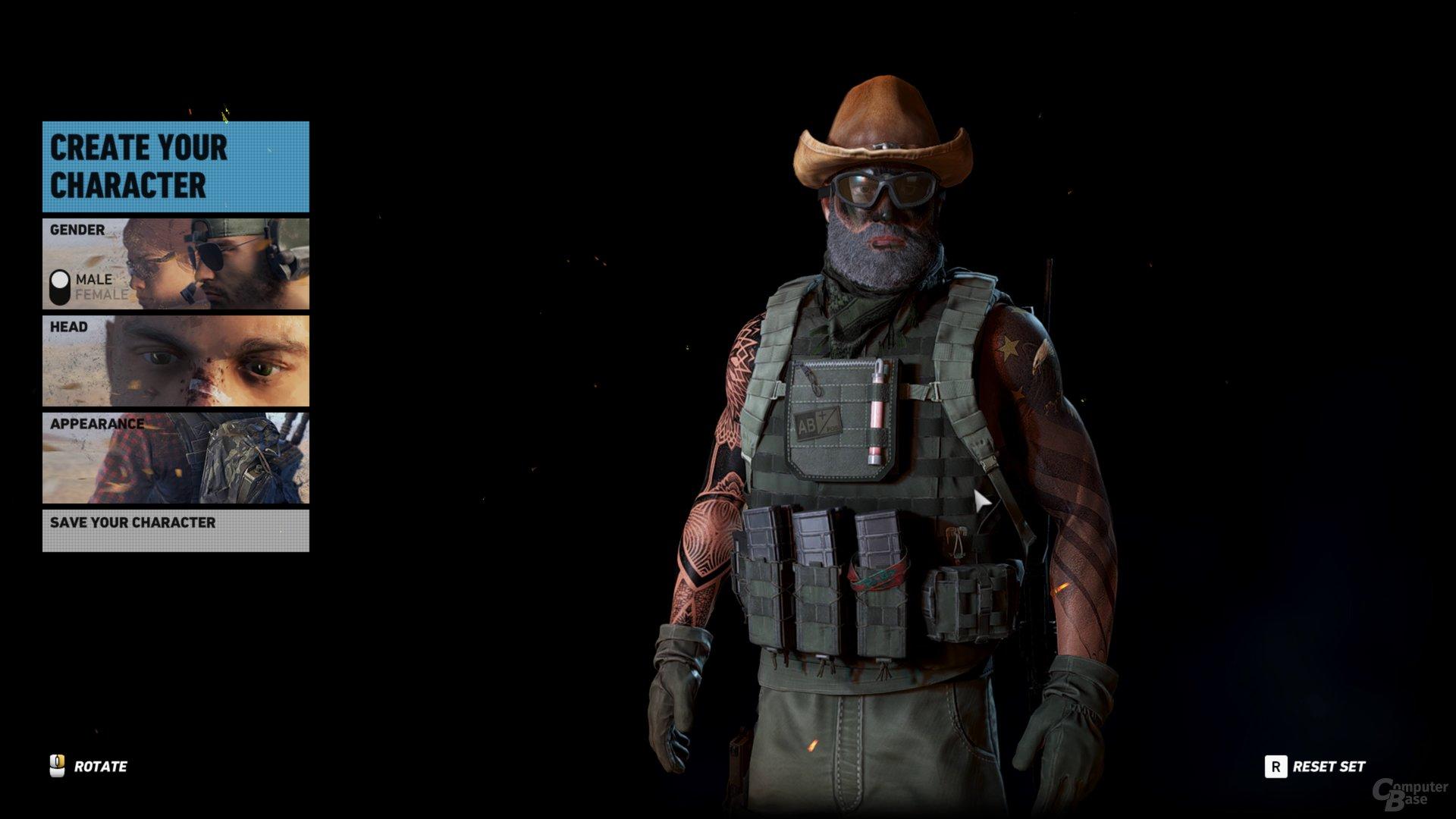 """Wir erstellen im Charakter Editor """"Patriotic Military Redneck Soldier Man"""""""