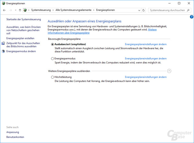 Optionen zum Einstellen des Energiesparprofils in Windows 10