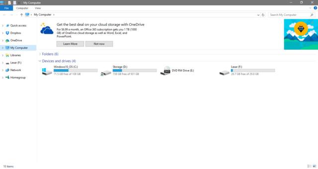 Anzeigen im Explorer in der Vorschau auf Windows 10 Creator's Update
