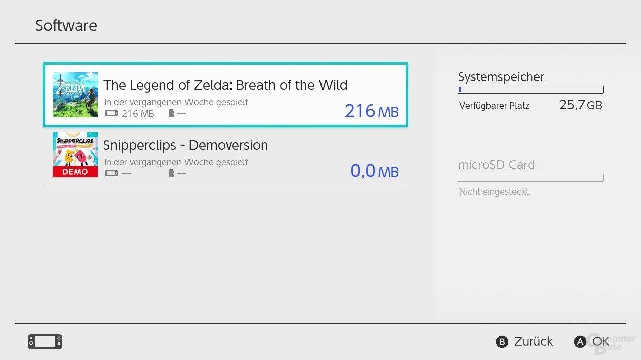 Nintendo SwitchOS: Entnommene microSD-Karte
