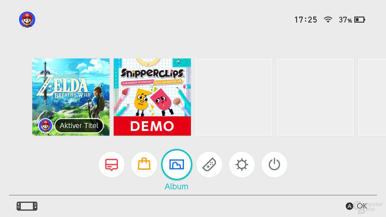 Nintendo SwitchOS: Der Startbildschirm
