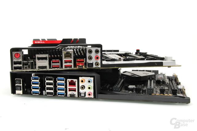 MSI bietet auf dem Titanium noch einen PS/2-Anschluss, Asus auf dem Crosshair VI Hero nicht