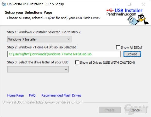 Bootfähigen USB-Stick mit einer ISO von Windows 7 erstellen