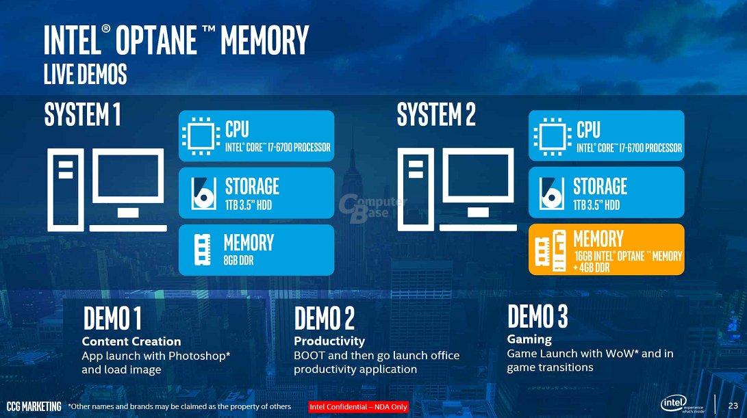 Intel-Demos zum Optane Memory