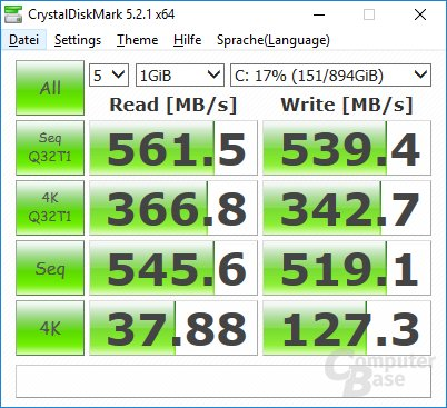 Die Corsair Force LE SSD mit 960 GB in CrystalDiskMark