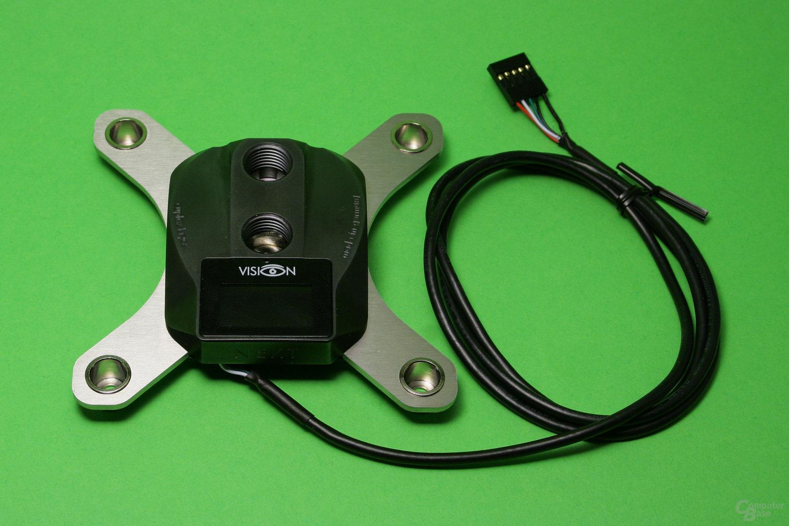 Aqua Computer Cuplex Kryos Next (Vario und Vision): PVD-beschichteter Kühlerdeckel und USB-Anschlusskabel