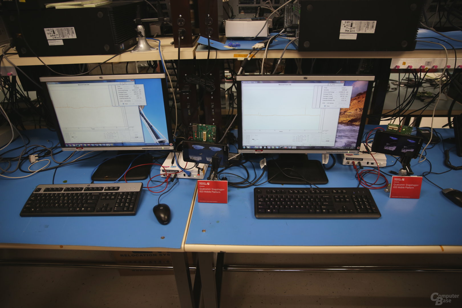 Qualcomm Snapdragon 820 neben 835 im Power-Lab