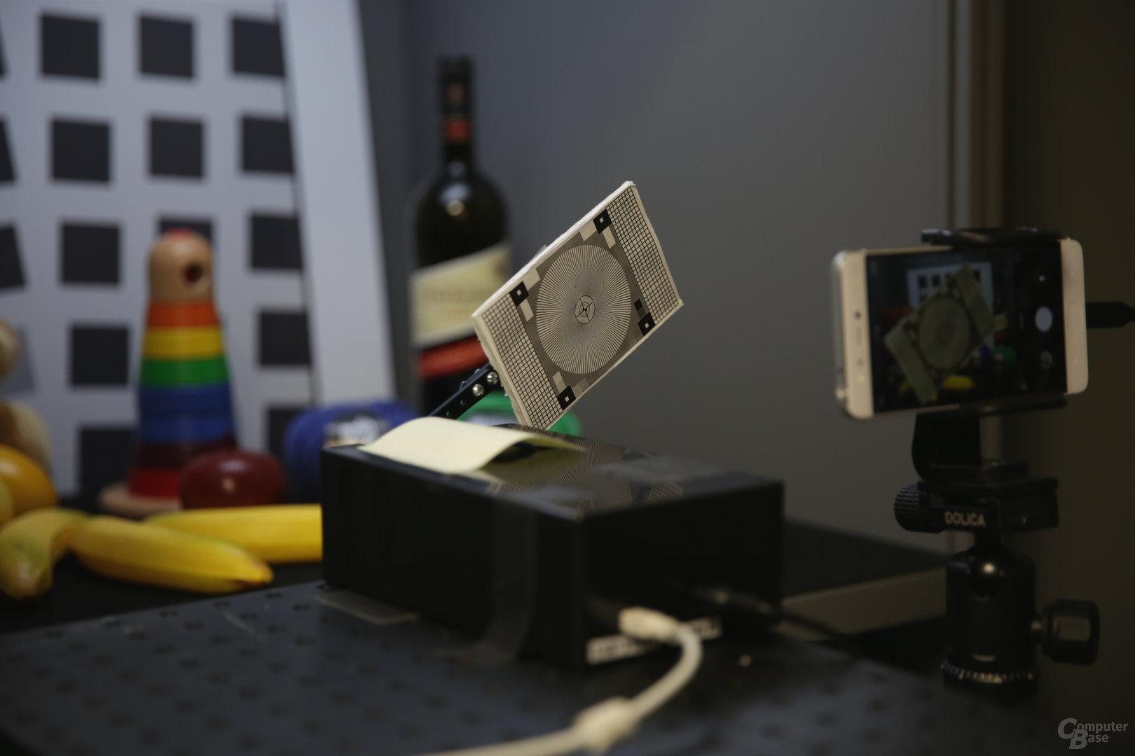 Testaufbau für Autofokus-Messungen