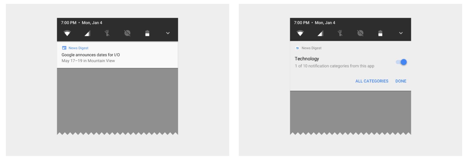 Notifications lassen sich Kategorien zuordnen (rechts)