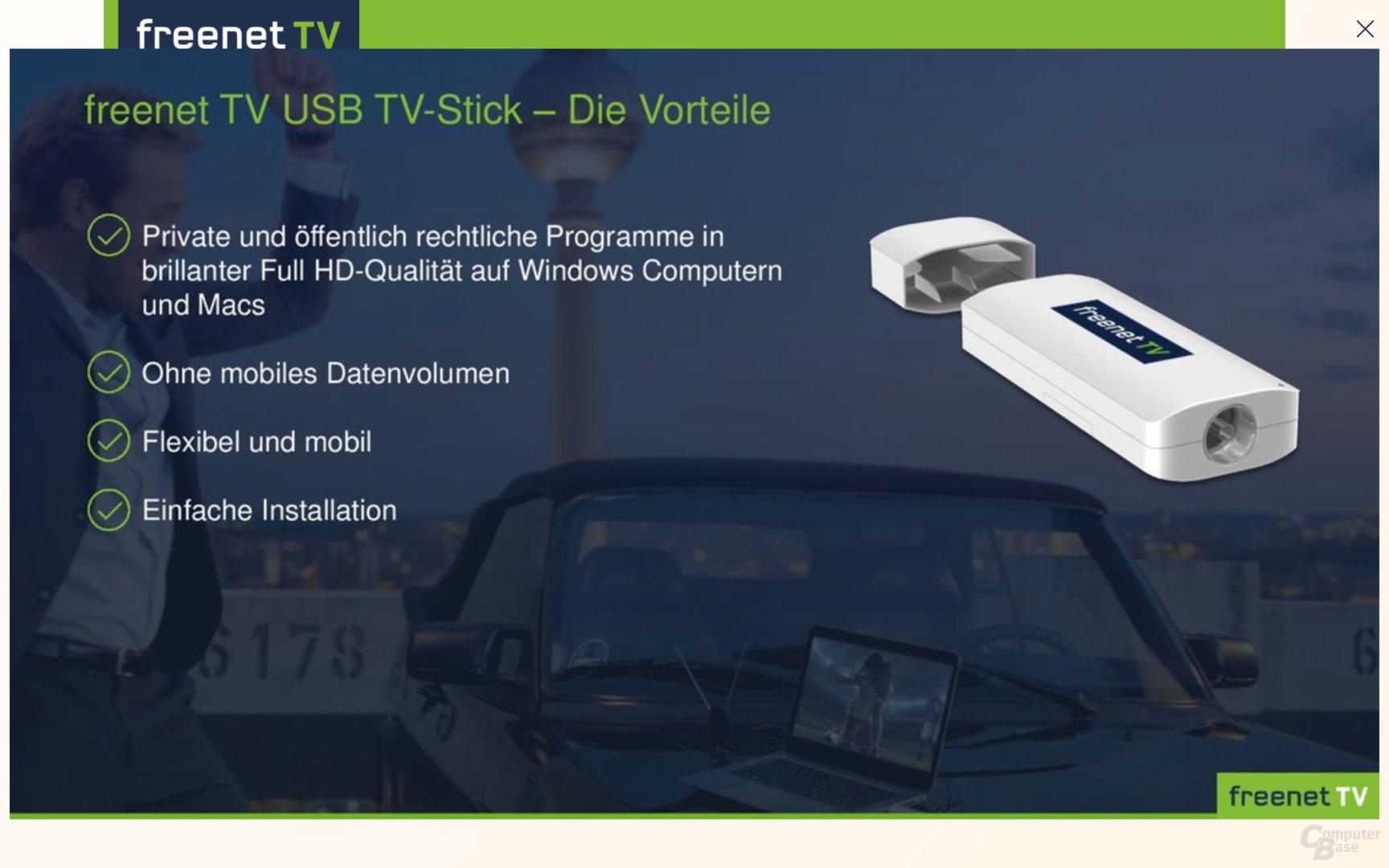Der Freenet TV USB TV-Stick empfängt verschlüsseltes DVB-T2 HD