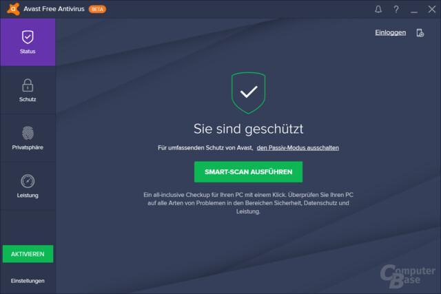 avast! Free Antivirus: Hauptmenü
