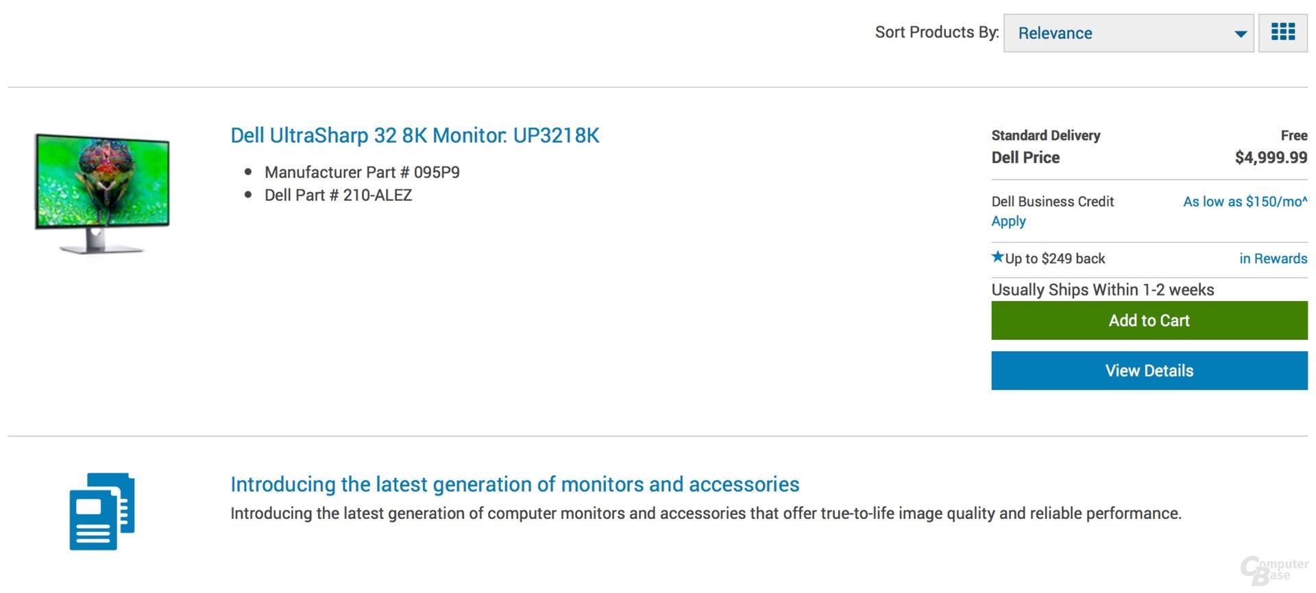 Dell UP3218K mit 8K im US-Online-Shop