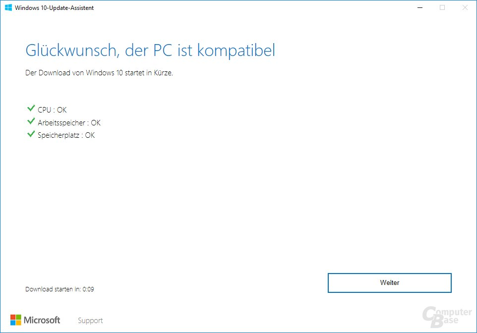 Der Update Assistant für Windows 10 Version 1703 - Systemcheck